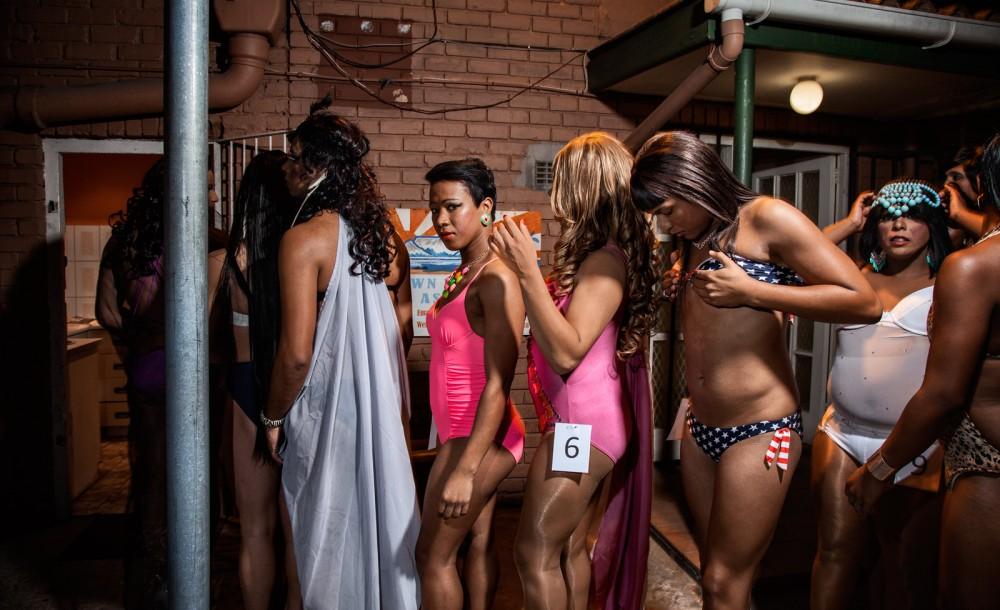 Alicia waits in line to present her beachwear outfit at the Miss Temptation beauty pageant. Landsdowne, Cape Town South Africa, 2014